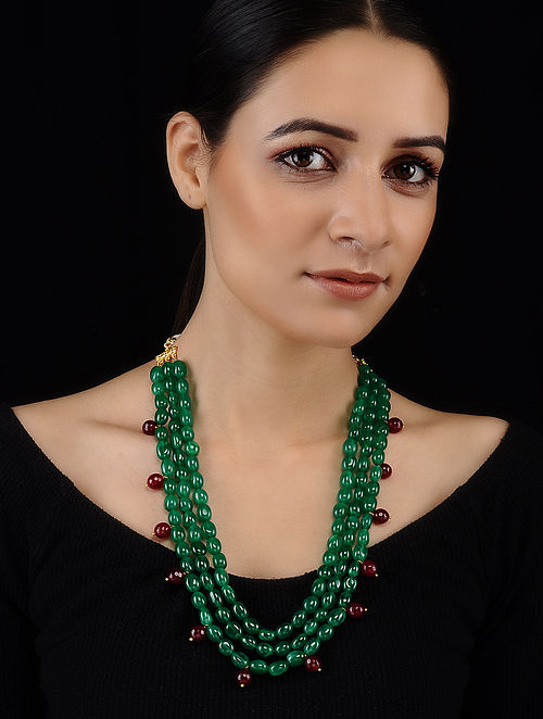 Green-Red Jade and Onyx Necklace