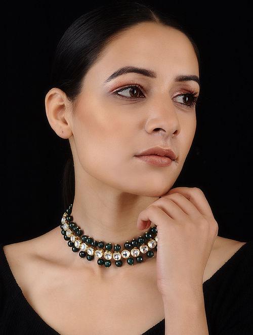 Green Gold Tone Kundan Inspired Choker Necklace