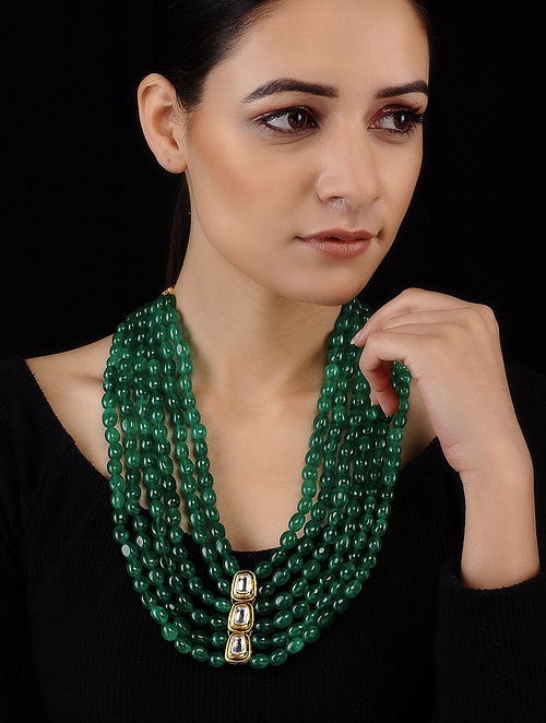 Green Gold Tone Kundan Inspired Necklace