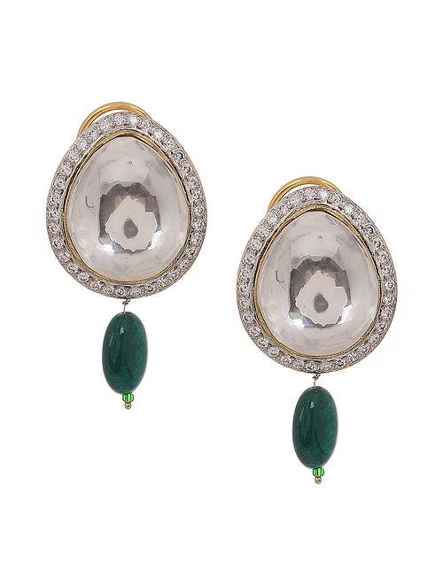 Green Polki Stud Earrings