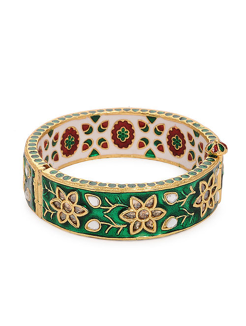 Green Gold Tone Meenakari and Kundan Inspired Bangles