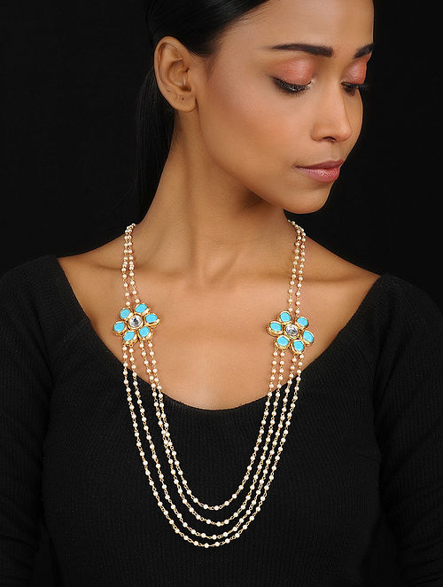 280f2a942 Buy Turquoise-White Pendant Necklace with Pearls Online at Jaypore ...