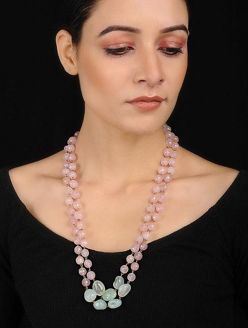 Pink-Green Rose Quartz String Necklace