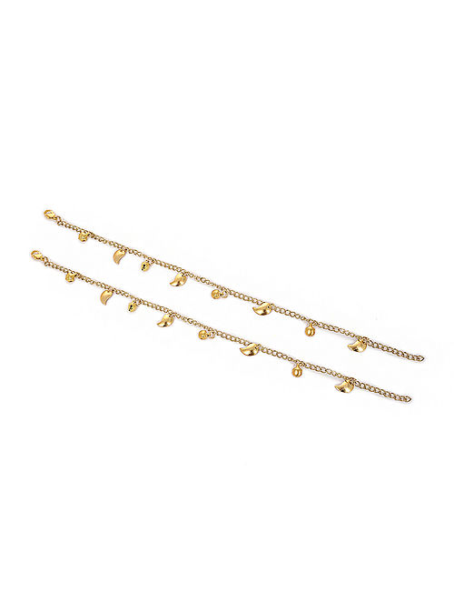 Gold Tone Pearl Anklets