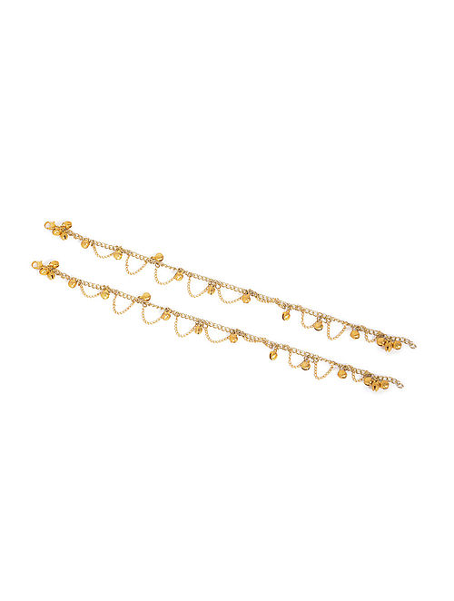 Gold Tone Anklets with Ghungroo