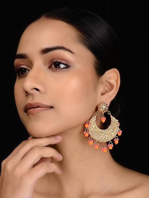 Pink-Orange Jadau and Pearl Chandbali Earrings