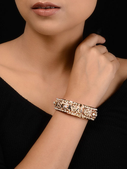 Gold Tone Jadau and Aari Pearl Bangle
