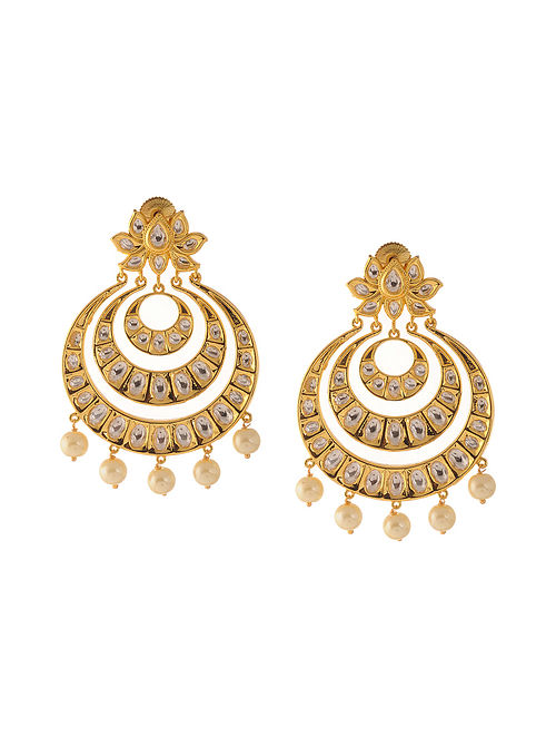 Classic Gold Tone Kundan Inspired Pearl Chandbali Earrings