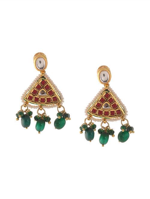 Red Green Kundan Inspired Earrings