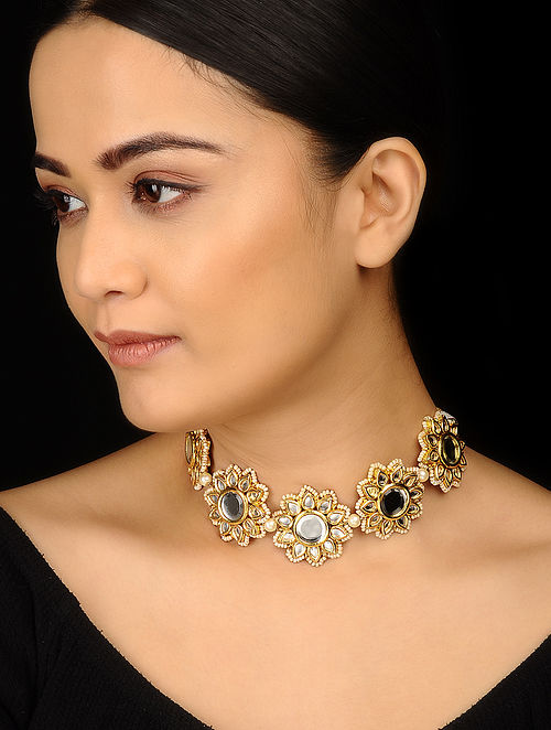 Gold Tone Kundan Inspired Choker Necklace