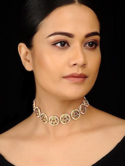 Gold Tone Kundan Inspired Pearl Choker Necklace