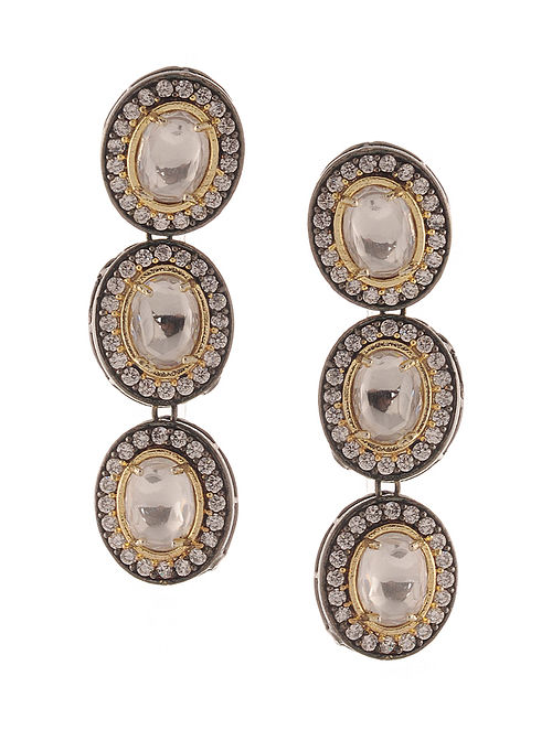 White Gold Tone Victorian Polki and Zirconia Earrings