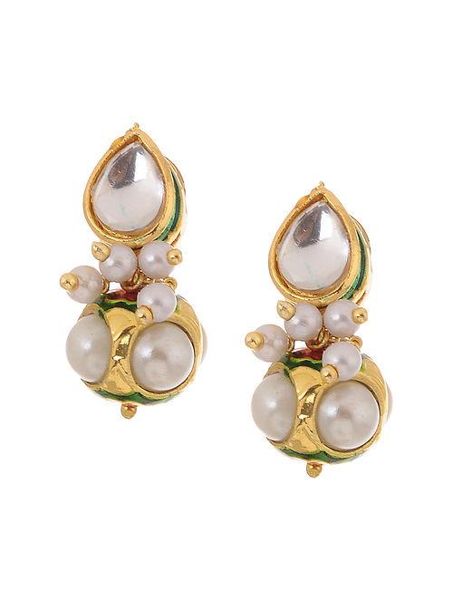 Green Gold Tone Kundan Inspired Pearl Stud Earrings
