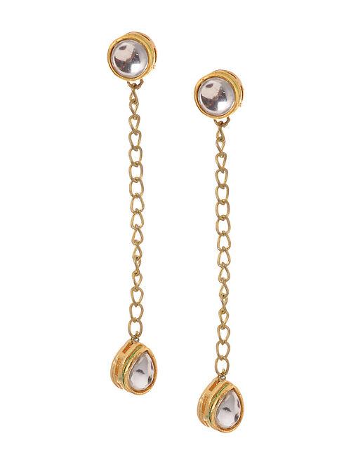 Classic Gold Tone Kundan Inspired Drop Earrings
