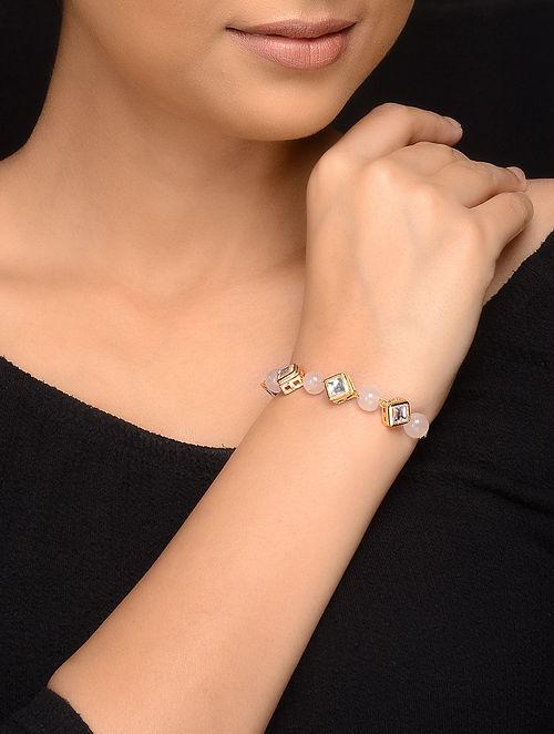 Pink Gold Tone Kundan Inspired Rose Quartz Bracelet