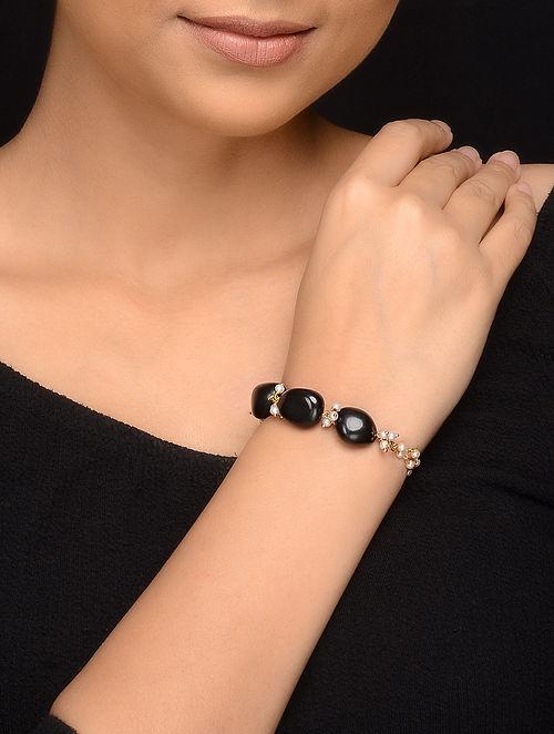 Black Gold Tone Onyx and Pearl Bracelet