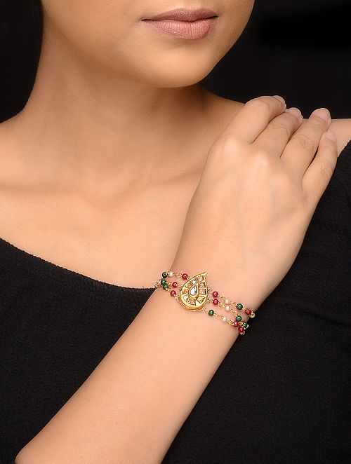 Multicolored Gold Tone Kundan Inspired Bracelet