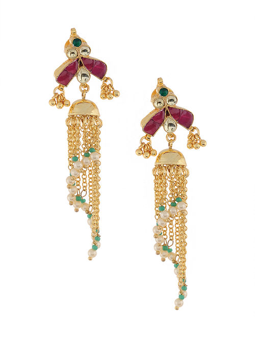 Multicolored Gold Tone Kundan Inspired Jhumkis