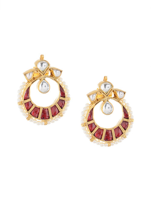 5f9f798104164 Buy Red Gold Tone Kundan Inspired Stud Earrings Online at Jaypore.com