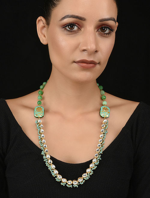 Blue Green Gold Tone Kundan and Meenakari Necklace