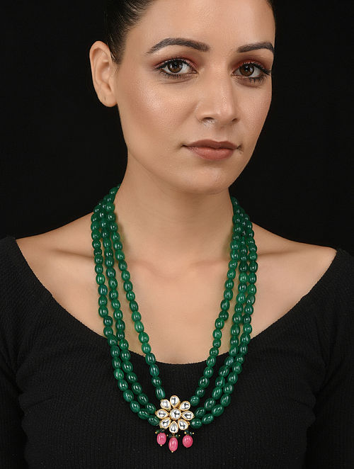 Green Pink Gold Tone Kundan Necklace
