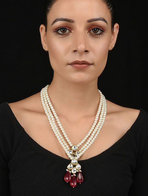 Red Gold Tone Kundan Necklace with Pearls
