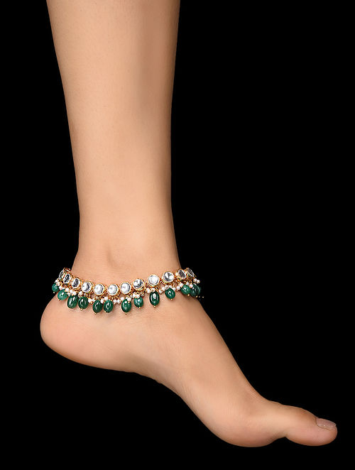 Green Gold Tone Kundan Anklets (Set of 2)