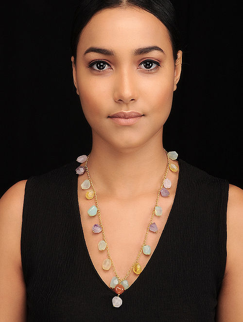 Multicolored Gold Tone Beaded Necklace