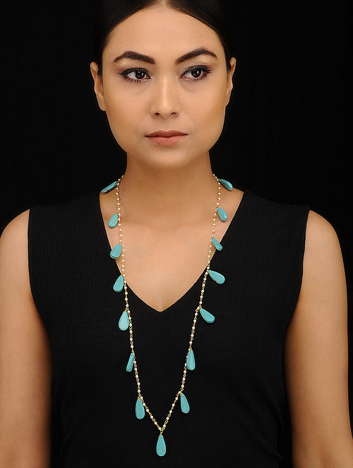 Turquoise Gold Tone Beaded Necklace with Pearls