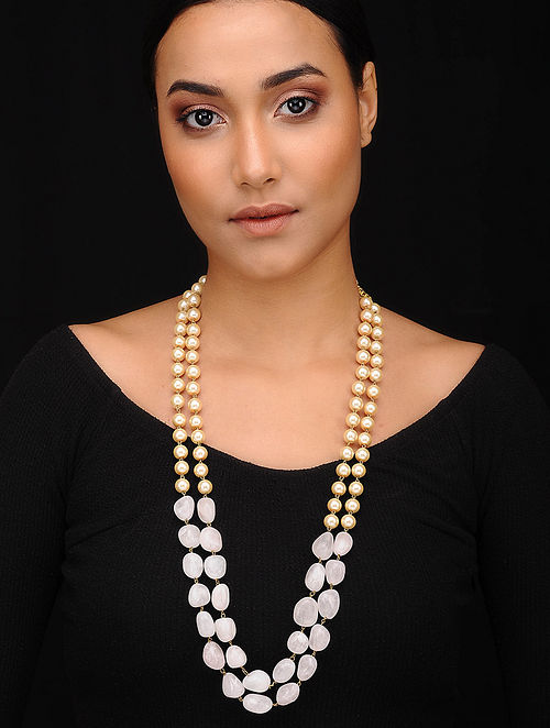 Pink Gold Tone Beaded Necklace With Pearls