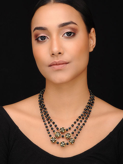 Black Gold Tone Kundan Beaded Necklace