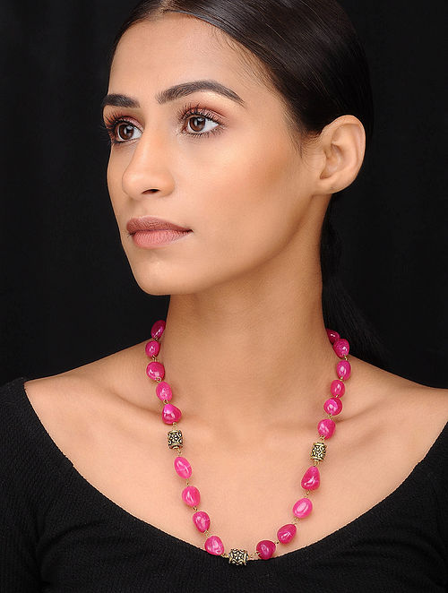 Pink Black Gold Tone Beaded Necklace