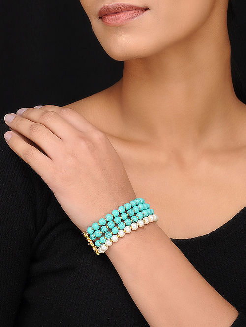 Turquoise Gold Tone Pearl Beaded Bracelet