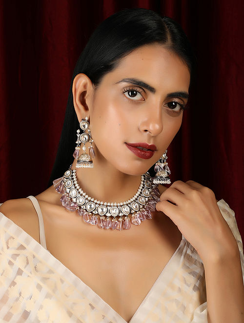 Pink Silver Tone Handcrafted Necklace with Earrings (Set of 2)