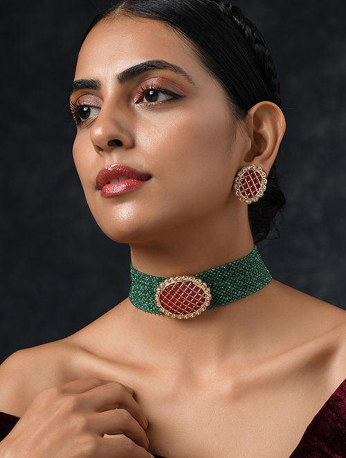 Green Red Gold Tone Kundan Beaded Necklace with Earrings (Set of 2)