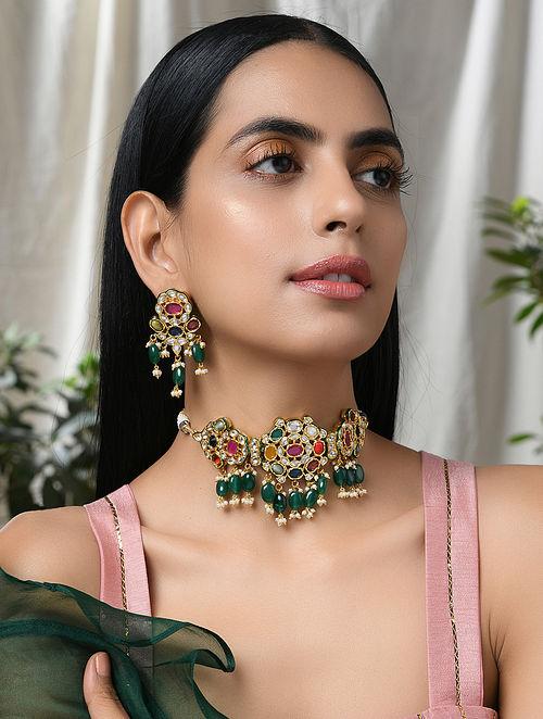 Multicolored Navratan Gold Tone Kundan Necklace with Earrings