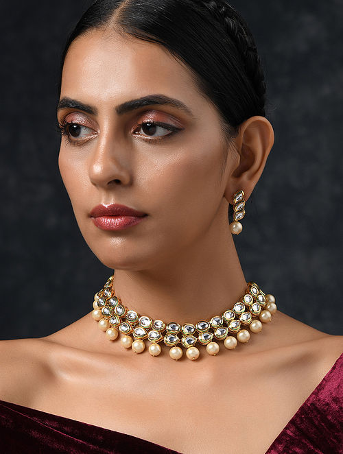 Gold Tone Pearl Beaded Kundan Necklace with Earrings