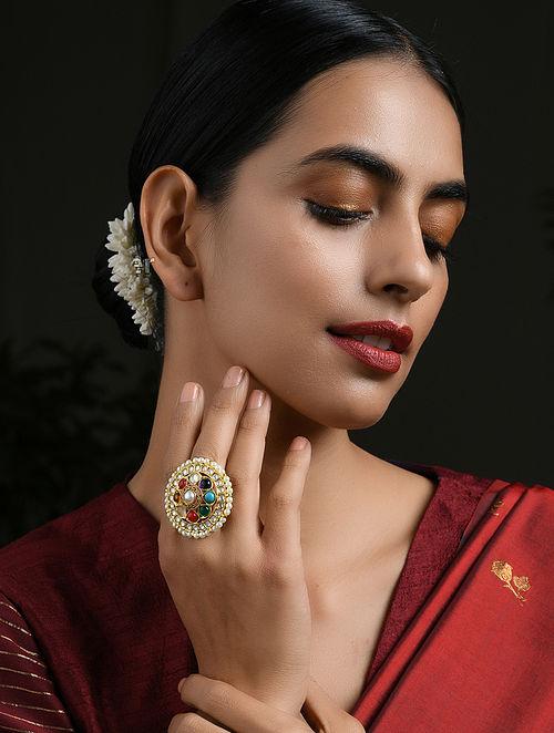 Multicolored Navratan Gold Tone Kundan Ring with Pearls