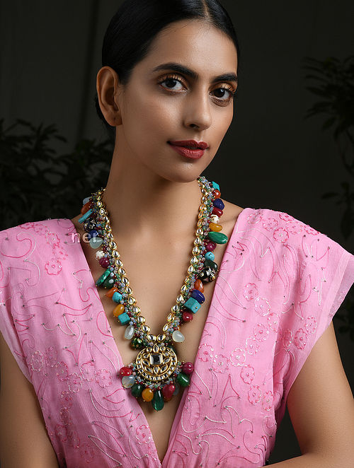 Multicolored Navratan Gold Tone Kundan Beaded Necklace