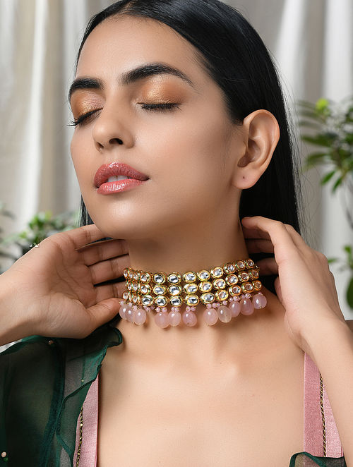 Pink Gold Tone Kundan Necklace