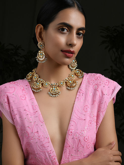 Turquoise Gold Tone Kundan Necklace with Earrings