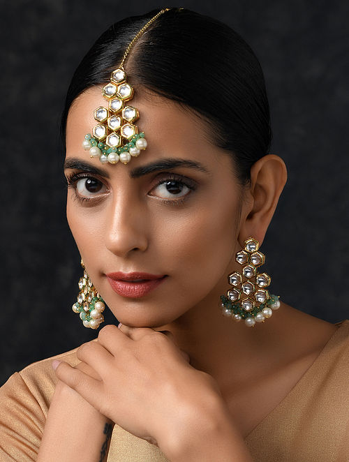 Jade Gold Tone Kundan Earrings and Maang Tikka with Pearls