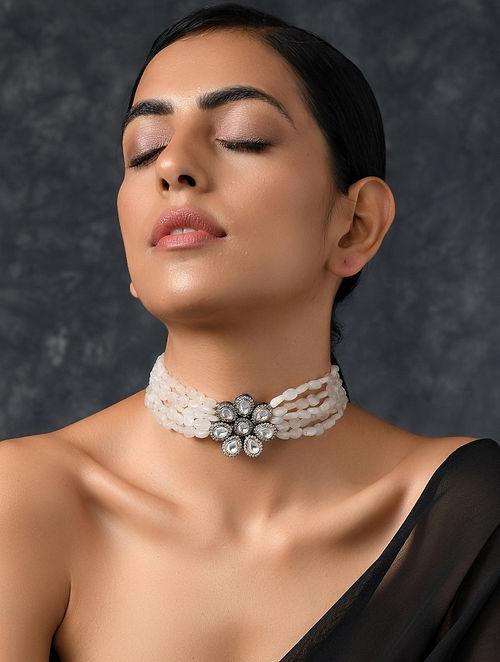 Agate Silver Tone Kundan Beaded Necklace