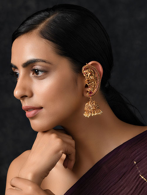 Pink Gold Tone Temple Work Earrings with Pearls