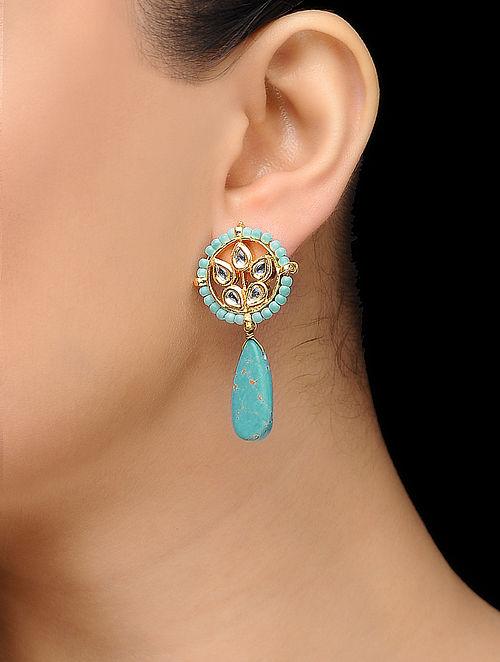 25c483483 Buy Feroza Gold Tone Turquoise Kundan Inspired Stud Earrings ...