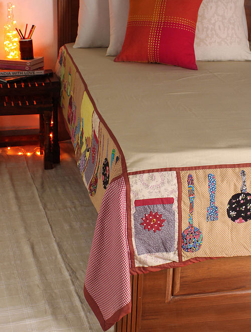 Multicolor Kitchen Single Bed Cover 102in x  70in