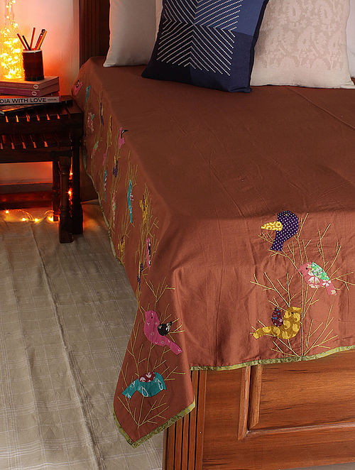 Rust-Multicolor Bamboo Bird Single Bed Cover 106in x  70.5in