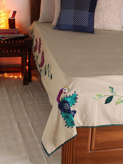 Multicolor Madhubani Peacock Single Bed Cover 107in x  72in