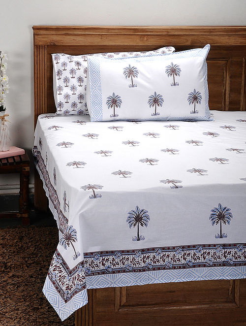 White-Multicolor Handblock Printed 200 Thread Count Cotton Double Bedsheet (Set of 3)