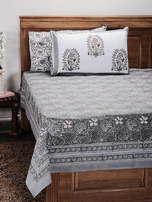 White-Multicolor Handblock Printed 200 Thread Count Cotton Bedsheet (Set of 3)